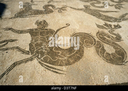 Rome, Italy. Mosaics depicting sea gods in the Temple of Neptune at the ancient port archeological site of Ostia - Stock Photo