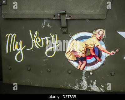My Kerry Art work on the side of a World War II truck - Stock Photo