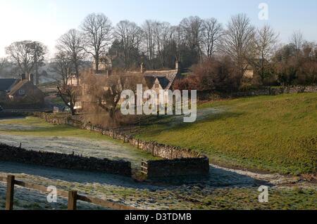 Hampnett village in winter, Gloucestershire, England, UK - Stock Photo