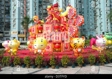 Chinese New Year decorations on Taipa Island in Macau, China - Stock Photo