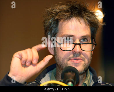German film director and provoction artist Christoph Schlingensief gives the laudation for the film award of the - Stock Photo