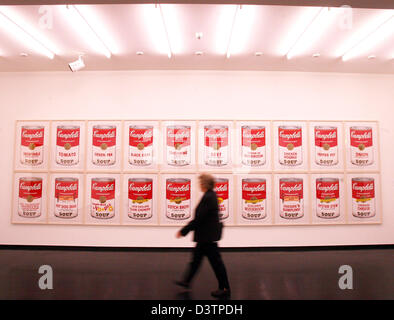 A visitor looks at the portfolios 'Campbells Soup I + II' by Andy Warhol at the 'Hamburger Kunsthalle', Hamburg, - Stock Photo