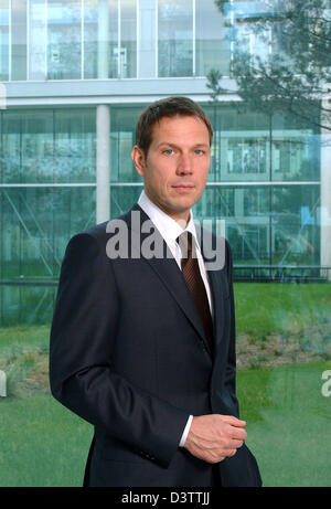 The company handout picture shows Rene Obermann, the CEO of the Telekom mobile phone subsidiary T-Mobile in the - Stock Photo