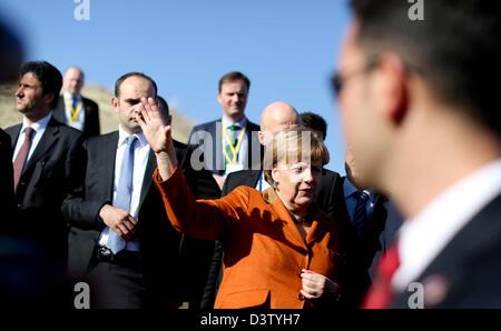 German Chancellor Angela Merkel visits the national park Goereme in Turkey, 25 February 2013. Merkel then travels - Stock Photo