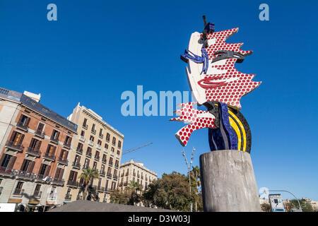 Sculpture 'Cap de Barcelona' by Roy Lichtenstein,Barcelona. - Stock Photo