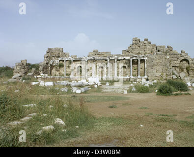 Side. Ruins of the Library, located in the State Agora. Anatolian Peninsula. - Stock Photo