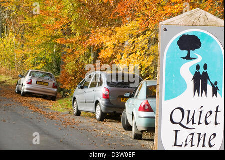 Cars parked on a country lane near Ambleside Lake District UK in Autumn - Stock Photo