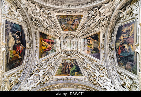 Ceiling details of the dome of Salzburg cathedral, Austria - Stock Photo