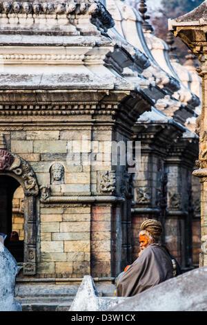 Sadhu, Pashupati Temple Complex, Kathmandu, Nepal - Stock Photo