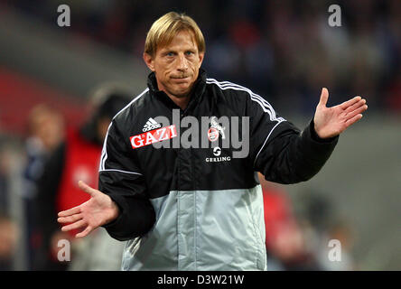 Cologne's head coach Christoph Daum gestures during the Bundesliga second division match 1.FC Cologne vs MSV Duisburg - Stock Photo
