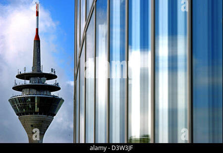 The picture shows the GAP 15 office tower (R) and the Rhine tower (L) in downtown Duesseldorf, Germany, 7 October - Stock Photo