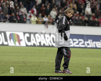 1.FC Cologne's head coach Christoph Daum is pictured after the round of last 16 German Cup match against Eintracht - Stock Photo