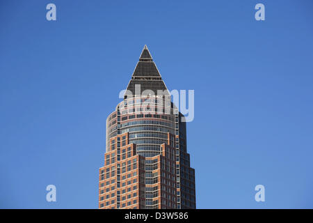 The picture shows the top of the Messeturm (Fair Tower) in Frankfurt Main, Germany, Tuesday, 26 December 2006. The - Stock Photo