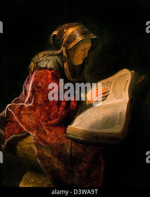 Old Woman reading probably the prophetess Anna 1631 Rembrandt Harmenszoon van Rijn Dutch 1606–1669 Netherlands - Stock Photo