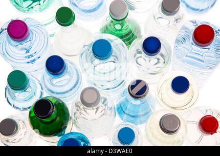 Different types of bottled mineral and table waters. - Stock Photo