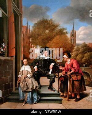 Adolf en Catharina Croeser on the Oude Delft ( the burgomaster of Delft and daughter ) 1655 Jan Havickszoon Steen - Stock Photo