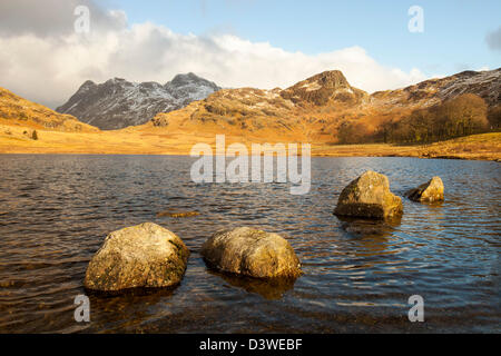 The Langdale Pikes from Blea Tarn in Little langdale, Lake District, UK.
