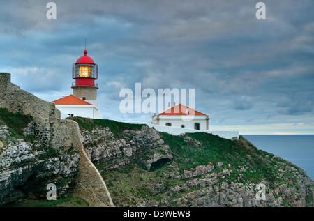 Portugal, Algarve: Lighthouse Saint Vincent at Cape St. Vincent - Stock Photo