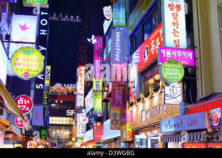 Neon signs in Myeong-dong district of Seoul, South Korea. - Stock Photo