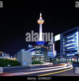 Kyoto Tower in Kyoto, Japan. - Stock Photo