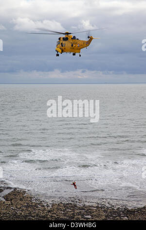 RAF Royal Air Force Sea King Search and Rescue helicopter - Stock Photo