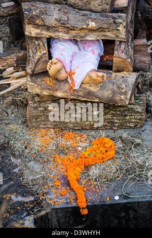 Cremation, Pashupati Temple Complex, Kathmandu, Nepal - Stock Photo