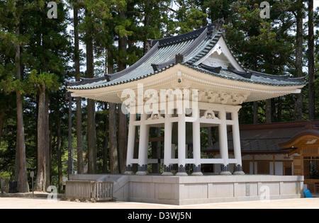 Bell tower at Danjo Garan in Kongobuji Temple complex on Koyasan, or Mount Koya, Wakayama, Japan. - Stock Photo