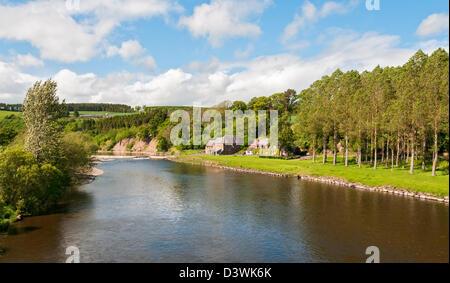 Scotland, Scottish Borders, River Tweed near St. Boswells - Stock Photo