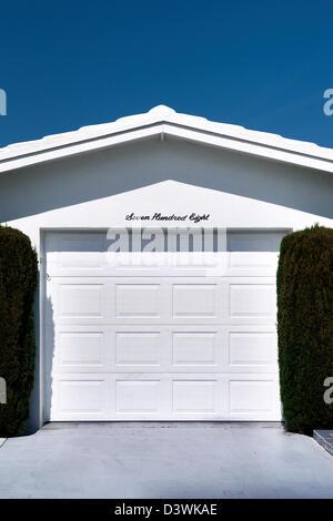 A Boynton Beach, Florida retirement community house garage. - Stock Photo