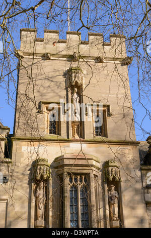Detail of facade of St John's College from St Giles Oxford England UK
