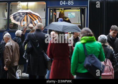 Budapest, Hungary, Passengers board a bus - Stock Photo