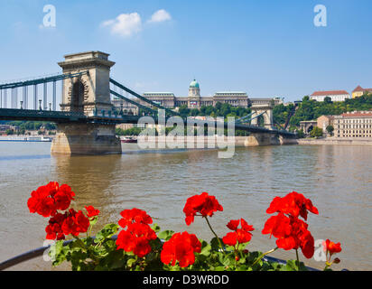 Chain Bridge Szechenyi Lanchid over the River Danube with the Hungarian National Gallery behind Budapest Hungary - Stock Photo