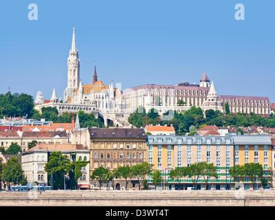Matyas church, Matyas templom and the Fishermen's bastion, Halaszbastya, Buda side Budapest, Hungary, Europe, EU - Stock Photo