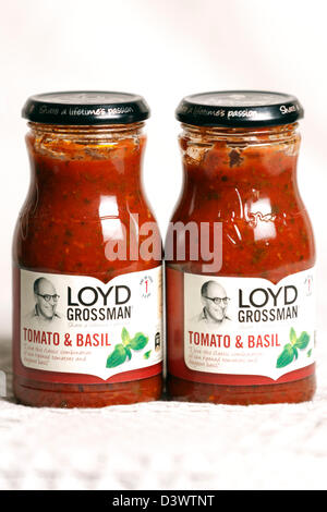 Loyd Grossman Tomato and Basil Pasta Sauce. - Stock Photo