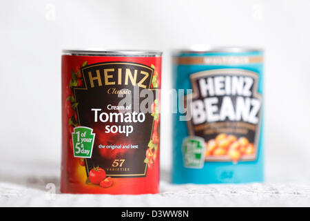 Heinz Tomato Soup and Heinz Baked Beans. - Stock Photo