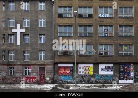 Berlin, Germany, derelict Geschaeftsgebaeude at Stralauer Platz - Stock Photo
