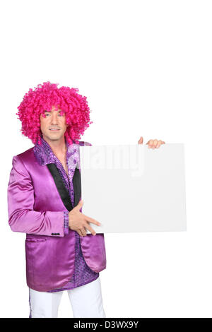 Man with a pink wig - Stock Photo