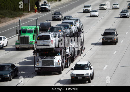 LOS ANGELES, CALIFORNIA, USA - FEBRUARY 21, 2013 - Traffic on the 210 Freeway in Pasadena in LA County on February 21, 2013. Stock Photo