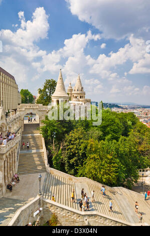 Fishermen's Bastion and steps Budapest, Hungary, Europe, EU - Stock Photo