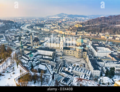Aerial view of Salzburg old town from the Hohensalzburg fortress, Austria - Stock Photo