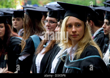 Graduation day ( in the rain), University of Birmingham, Birmingham, England, UK - Stock Photo