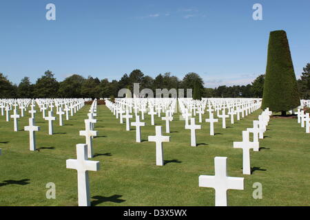 American Military Cemetery, Omaha Beach, Colleville Sur Mer, Normandy France.  Landing site of the US 29th infantry - Stock Photo