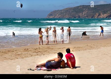 Windy day on Guincho beach, Cascais, Lisbon Coast, Estremadura, Portugal - Stock Photo