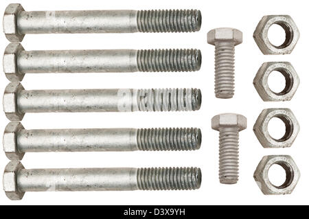 Galvanized nuts and bolts isolated on white background. - Stock Photo
