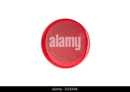 Red round reflectors isolated on white background. - Stock Photo
