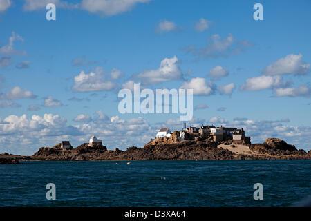 Fishermen's houses on Ecrehous island off Jersey, Channel islands, UK - Stock Photo
