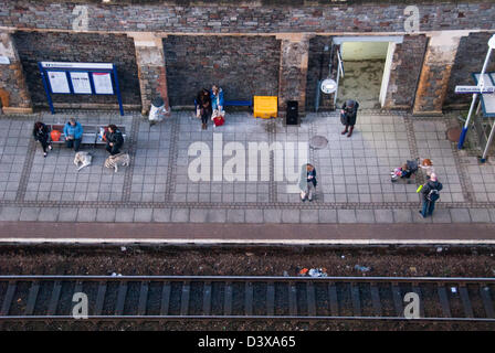 People on train stati0on platform waiting for train, Clifton Down Station, Bristol, England, United Kingdom, Europe - Stock Photo
