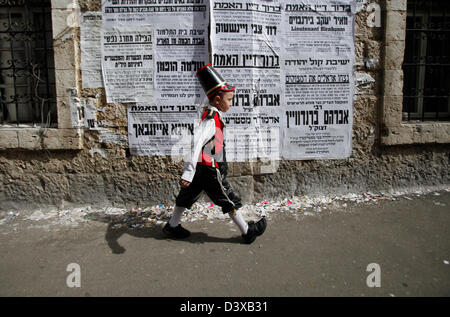 Young Ultra Orthodox religious Jew wearing costume is seen during Jewish holiday of Purim in the Ultra Orthodox - Stock Photo