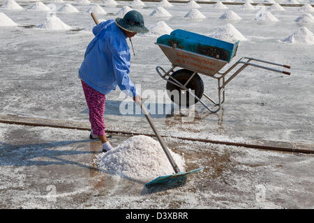 In Thailand, most of the salt used comes from brine salt farms, and the largest number of these salt farms are in - Stock Photo