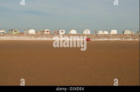 Stationary caravan park next to beach, Brean Down, Somerset, England, United Kingdom, Europe - Stock Photo